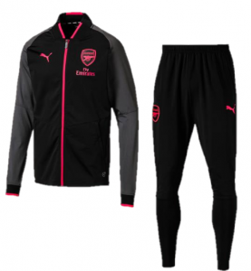 Arsenal-Trainingspak-Poly-Senior-2017-2018-zwart