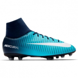 NIKE MERCURIAL VICTORY VI DYNAMIC FIT FG OBSIDIAN WHITE GAMMA BLUE KIDS